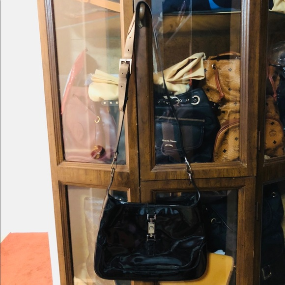 Authentic Gucci Sling Enamel Bag Black